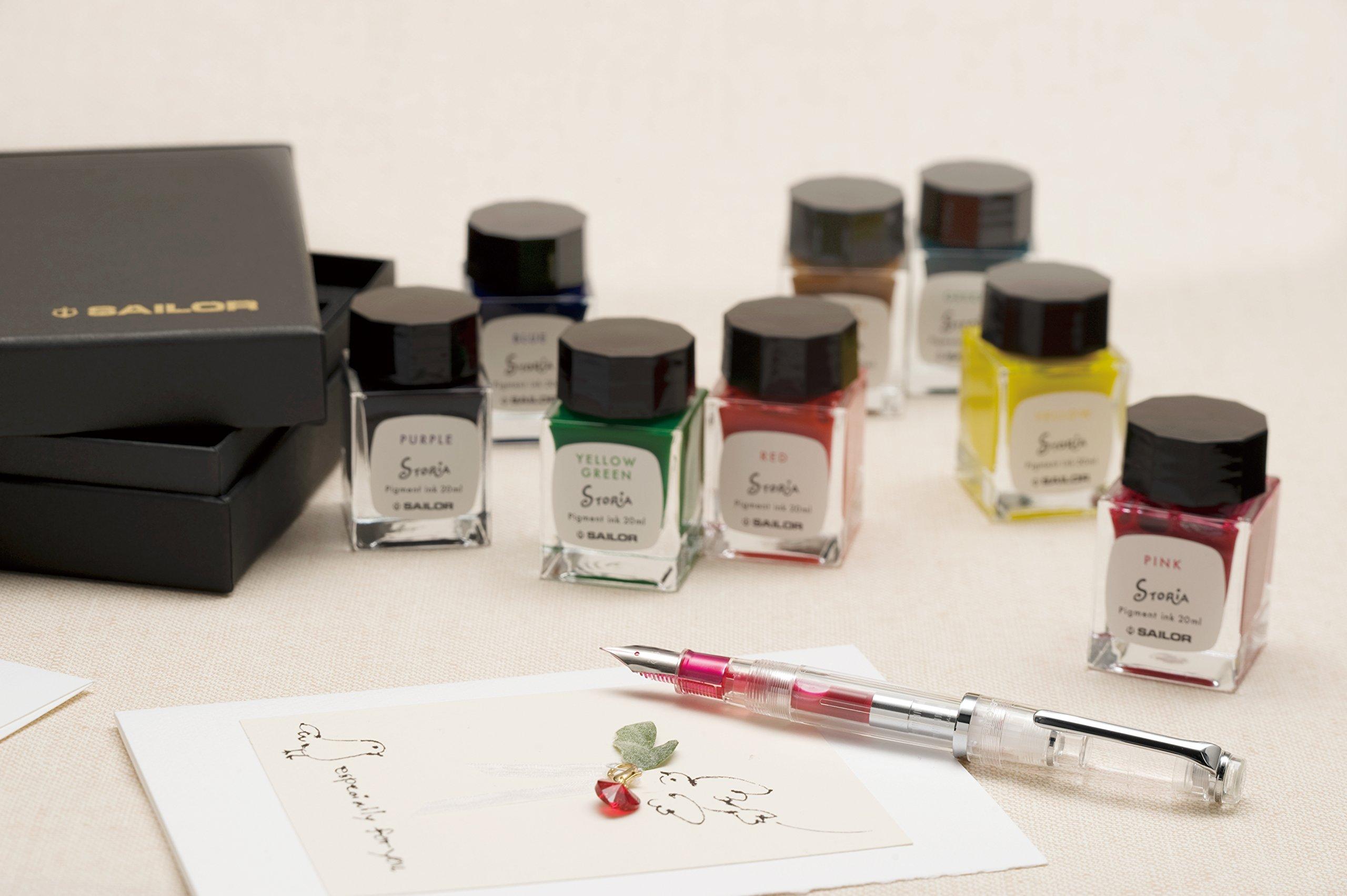 Sailor Fountain Pen mini Bottle 20ml Ink 8 Color Gift Set - Pigment Based '' STORiA '' by Sailor (Image #7)