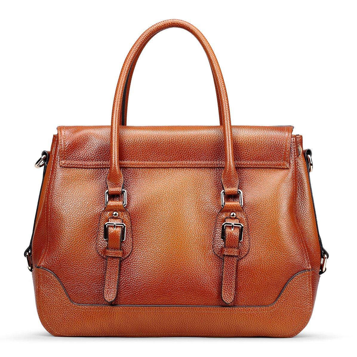161ca1b1103c2 Amazon.com: AINIMOER Women's Luxury Soft Leather Vintage Tote Top-handle Shoulder  Bag Crossbody Handbag Satchel Ladies Purse(Sorrel): Shoes