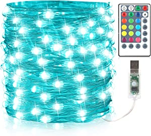GDEALER 33Ft 100Led Fairy Lights 16 Colors 8 Modes USB Plug in String Lights Christmas Lights with Remote Multi Color Changing Twinkle Firefly Lights for Christmas Decor Bedroom Wedding Party