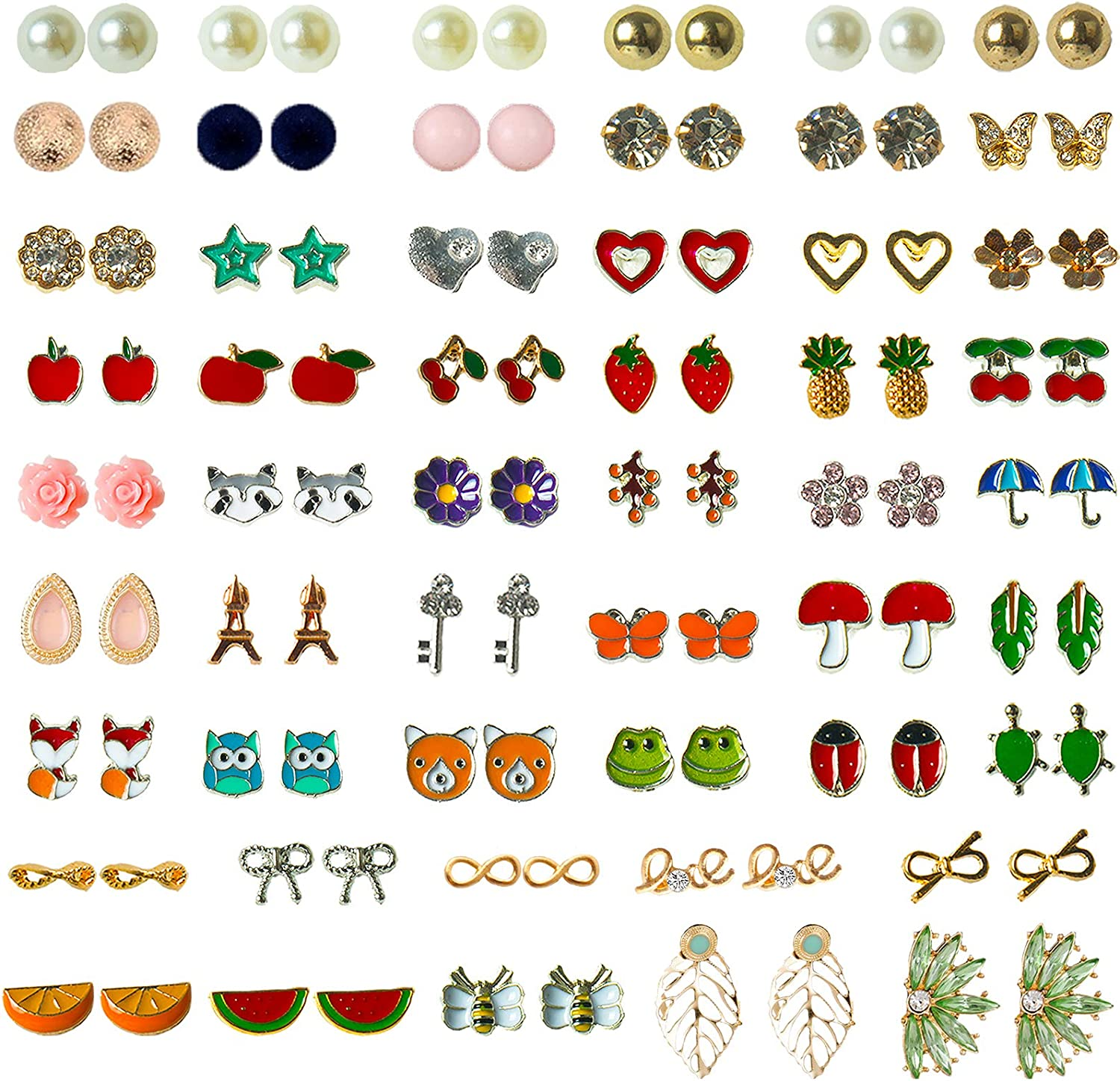 NEWITIN 52 Pairs Colorful Cute Stud Hypoallergenic Earrings Stainless Steel Earrings for Girls and Women