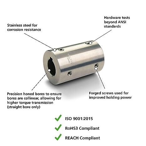 145 lb-in Nominal Torque 3//4 Bore A Diameter 2-1//4 Length 3//4 Bore B Diameter Ruland FSR24-12-12-SS Set Screw Beam Coupling Inch 1-1//2 OD Stainless Steel