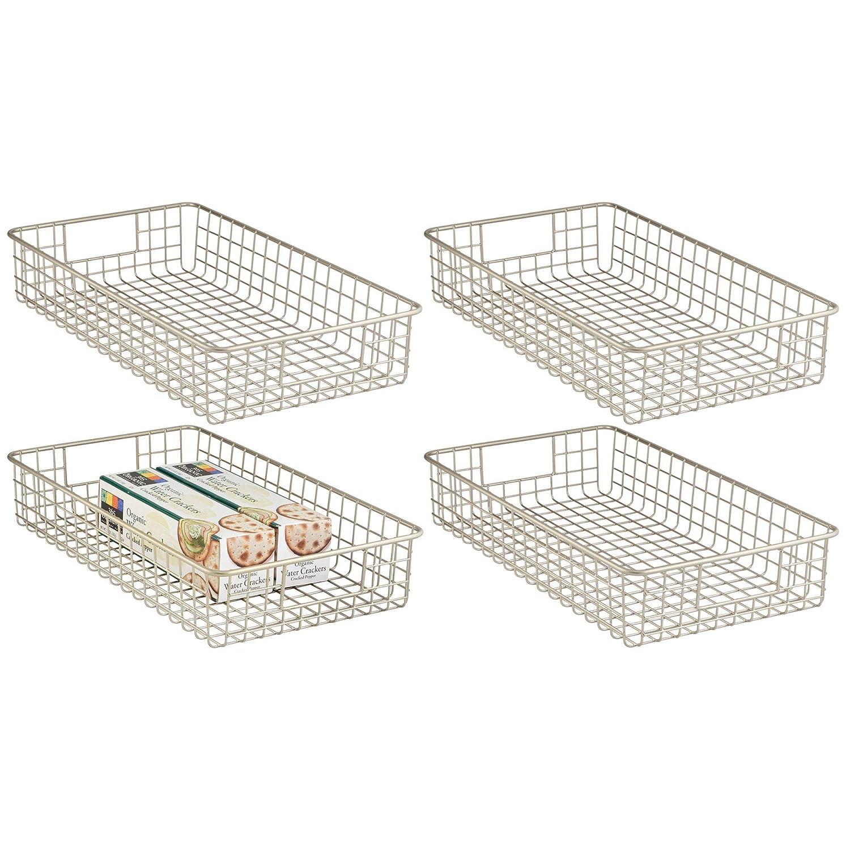 "mDesign Household Metal Wire Cabinet Organizer Storage Organizer Bins Baskets trays - for Kitchen Pantry Pantry Fridge, Closets, Garage Laundry Bathroom - 16"" x 9"" x 3"" - 4 Pack - Satin"