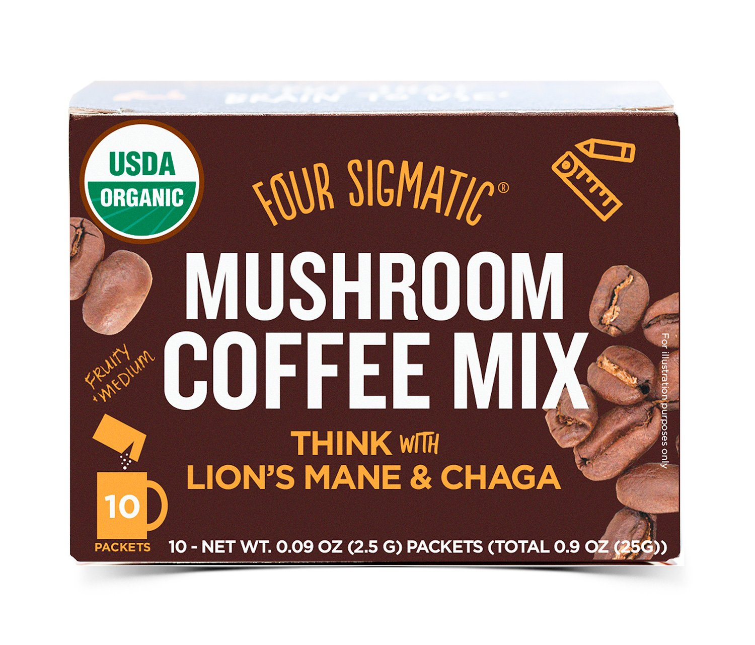 Four Sigmatic Mushroom Coffee with Lion's Mane & Chaga For Concentration + Focus, Vegan, Paleo, 0.09 Ounce (10 Count)