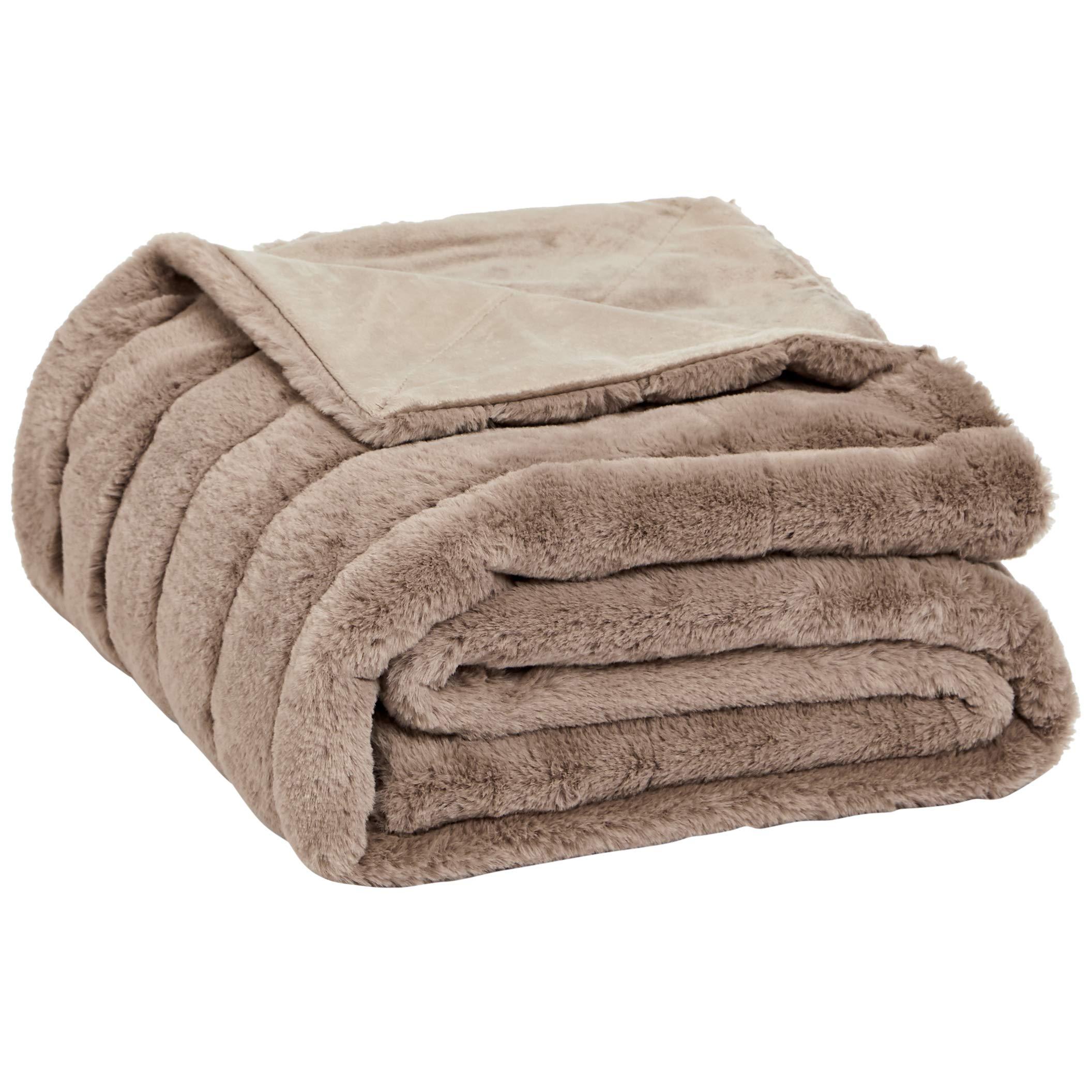 AmazonBasics Faux Fur Striped Throw Blanket - 63 x 87 Inch, Camel