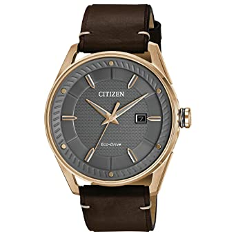 0355090b012ddd Amazon.com: Citizen Men's Eco-Drive Leather Strap Watch: Watches