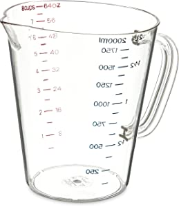 Carlisle 4314407 Commercial Plastic Measuring Cup, 1/2 Gallon, Clear
