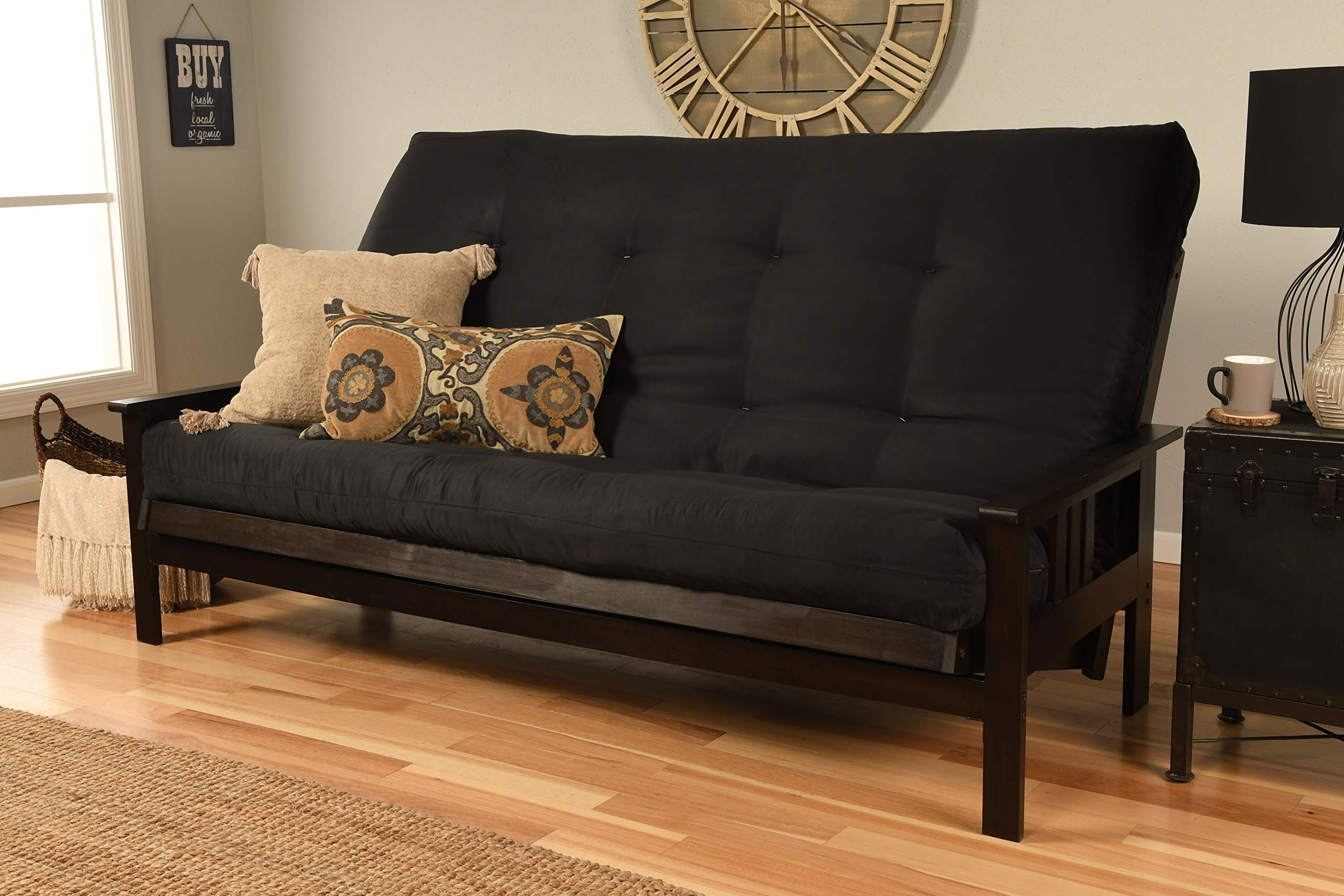 Jerry Sales Queen or Full Size Montreal | Espresso Futon Frame w/8 Inch Innerspring Mattress Sofa Bed Modern Futons (Black Mattress and Frame Only (Queen Size)) by Jerry Sales