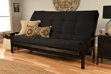 Jerry Sales Queen or Full Size Montreal | Espresso Futon Frame w/8 Inch  Innerspring Mattress Sofa Bed Modern Futons (Black Mattress and Frame Only