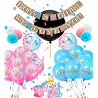 Gender Reveal Balloon Set by Smiling Wolf, with 2 Banner, 36 inch Balloon, 10 Pink and Blue Balloons, Photo Booth Props, pom poms