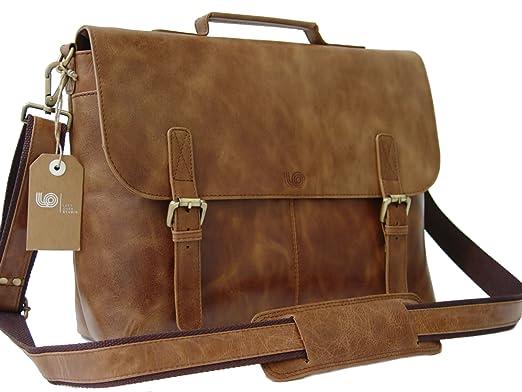45c80b965219 Leather Laptop Briefcase   Messenger Bag   Mens Satchel   Office Work Bag  in Tan Vintage