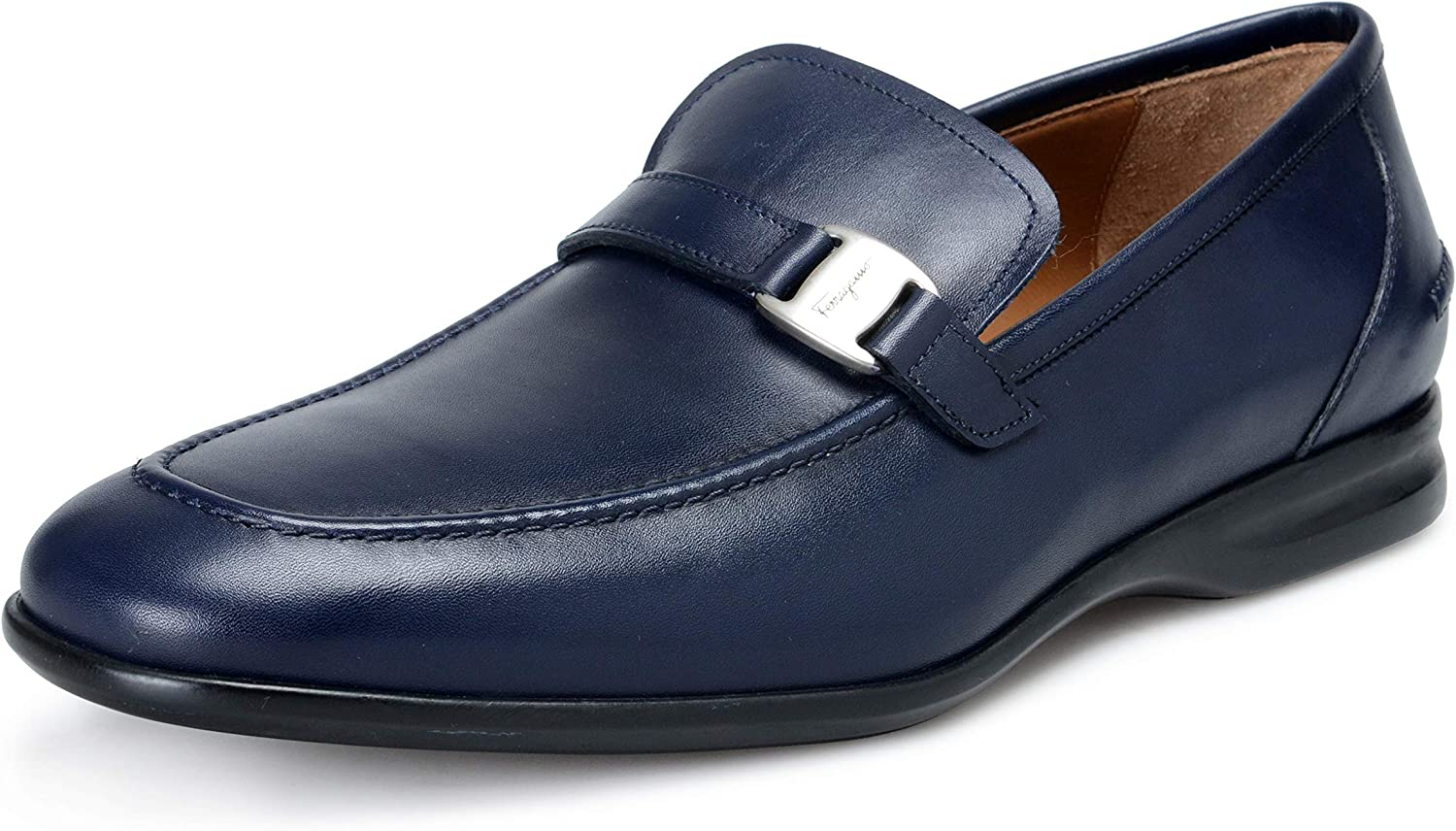 Blue Leather Slip On Loafers Shoes Sz