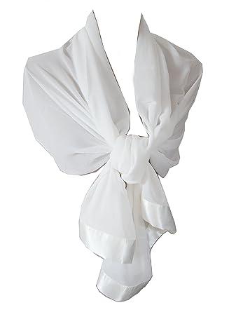 24c8d33ccc71 Etole écharpe chale en mousseline et satin idéal cérémonie soirée (Blanc)