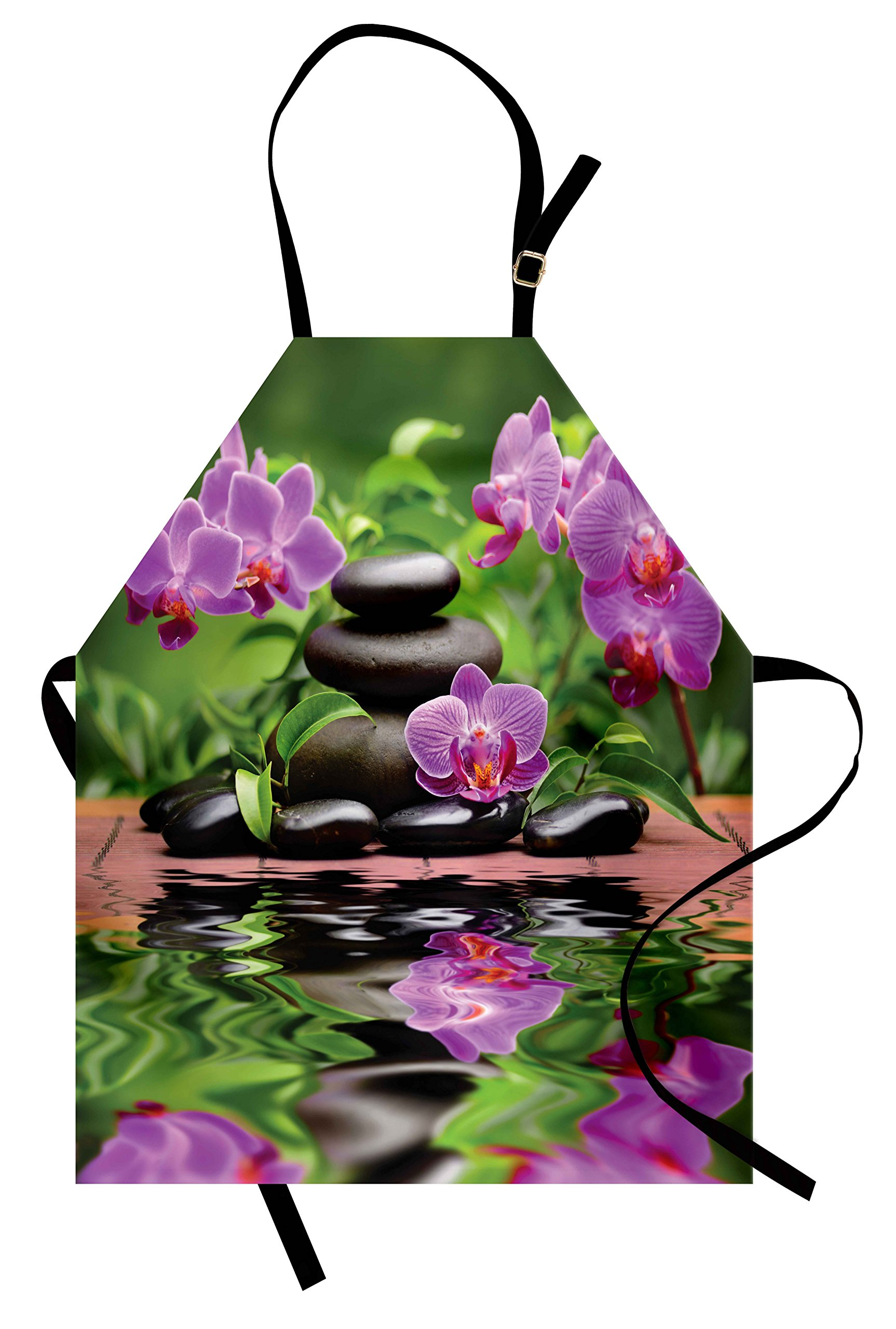 Lunarable Spa Apron, Zen Basalt Stones and Orchid Reflecting on Water Greenery Wellbeing Tropical, Unisex Kitchen Bib Apron with Adjustable Neck for Cooking Baking Gardening, Fren Green Lavander by Lunarable (Image #1)