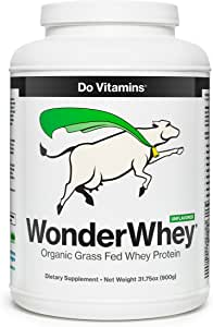 WonderWhey - Organic Grass Fed Whey Protein Powder - Organic Whey Protein - UNFLAVORED Clean Protein - Pure Undenatured Whey Protein Concentrate (2lb Bulk)
