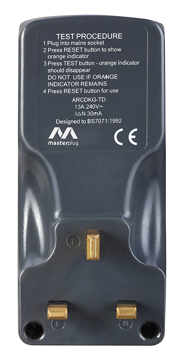 Masterplug Arcdkg Rcd Safety Adaptor Grey Diy Tools Wiring A 3 Way Switch Uk