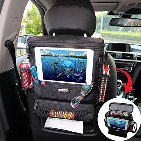 AMEIQ Seat Back Organizer For Car Cooler With Cell Phone IPad And Tissue Holder
