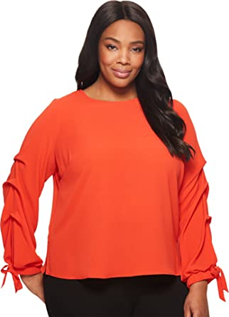 260eedb4b5fdb1 Vince Camuto Specialty Size Womens Plus Size Long Sleeve Tiered Tie Cuff  Textured Blouse Geranium 1X (US 14W-16W) One Size at Amazon Women's  Clothing store: