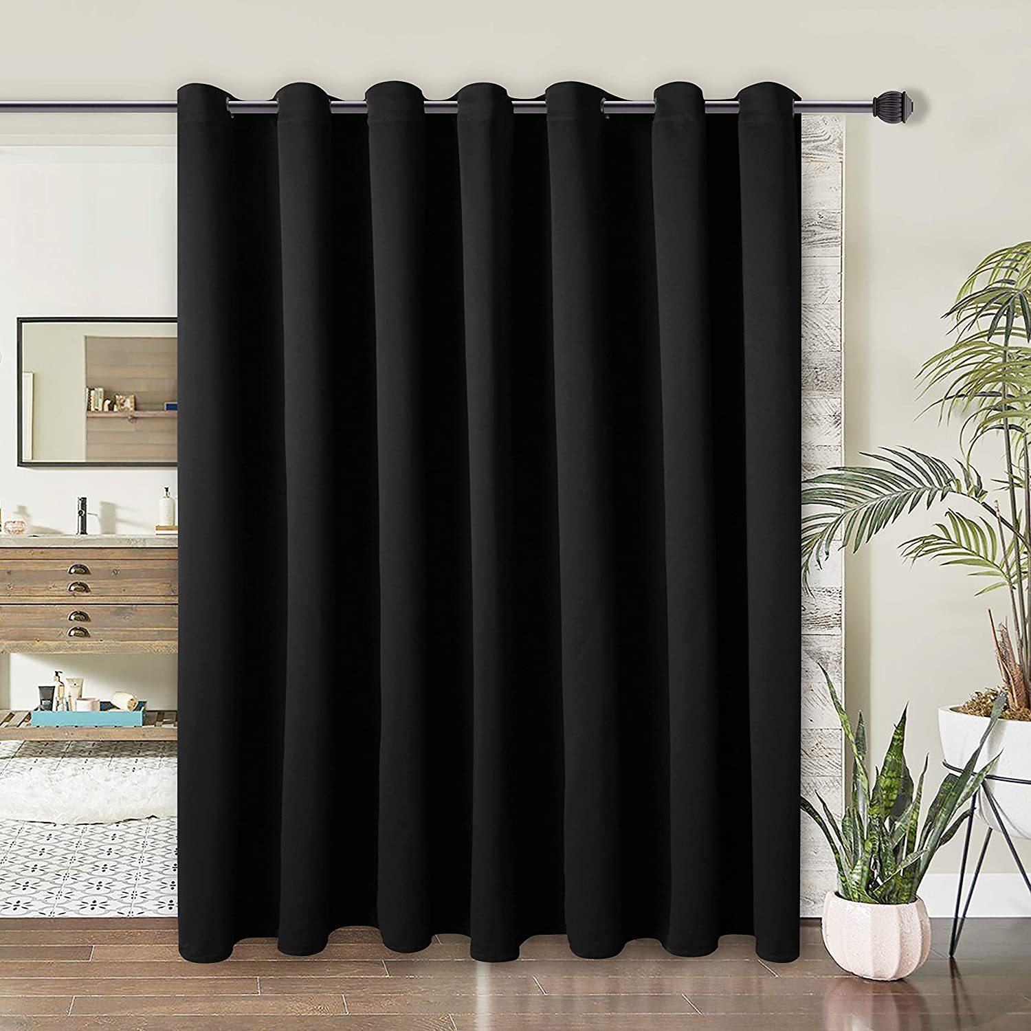 WONTEX Room Divider Curtain - Privacy Blackout Curtains for Bedroom Partition, Living Room and Shared Office, Thermal Insulated Grommet Curtain Panel for Sliding Door, 10ft Wide x 9ft Long, Black