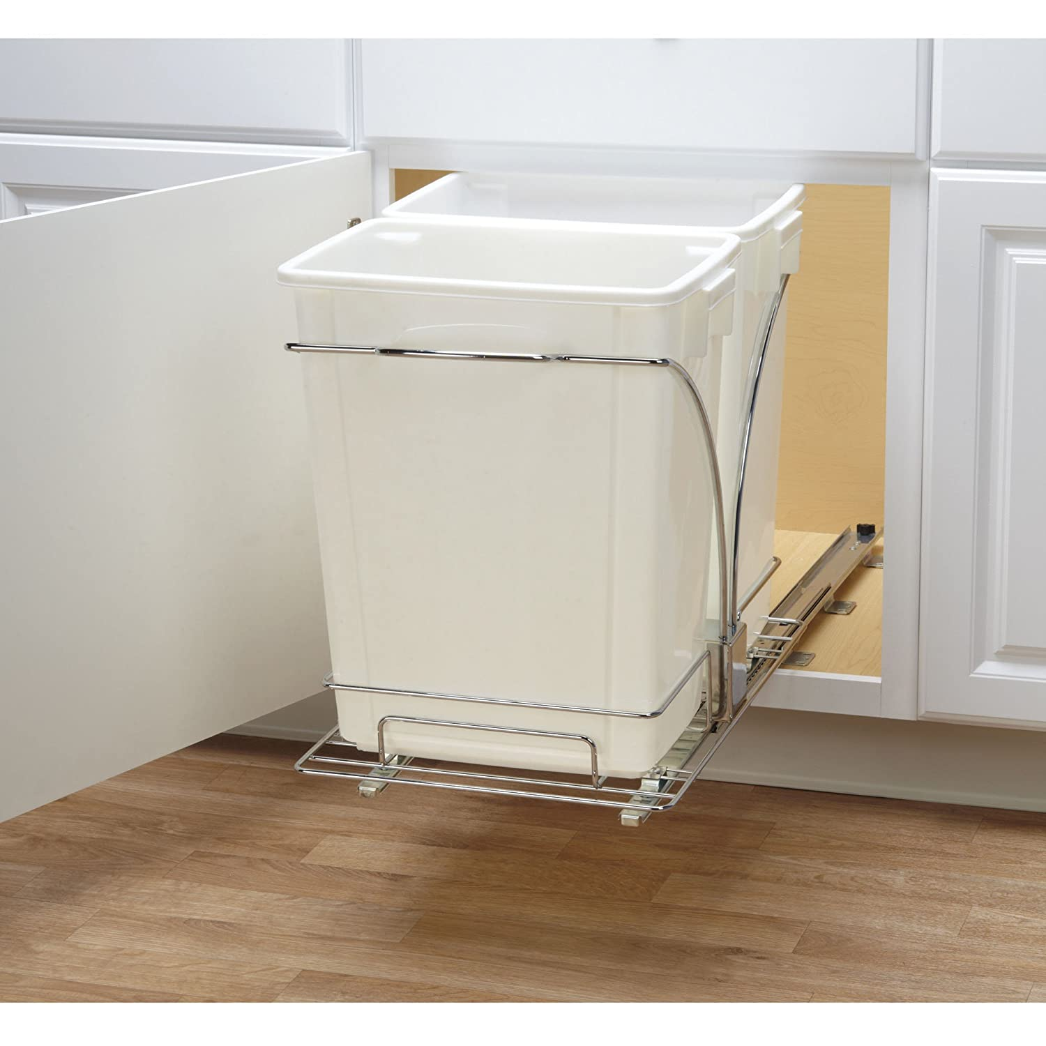 Amazon.com: Household Essentials C21247 1 Under Cabinet Double Sliding Trash  Can Caddy | 9 Gallon: Home U0026 Kitchen