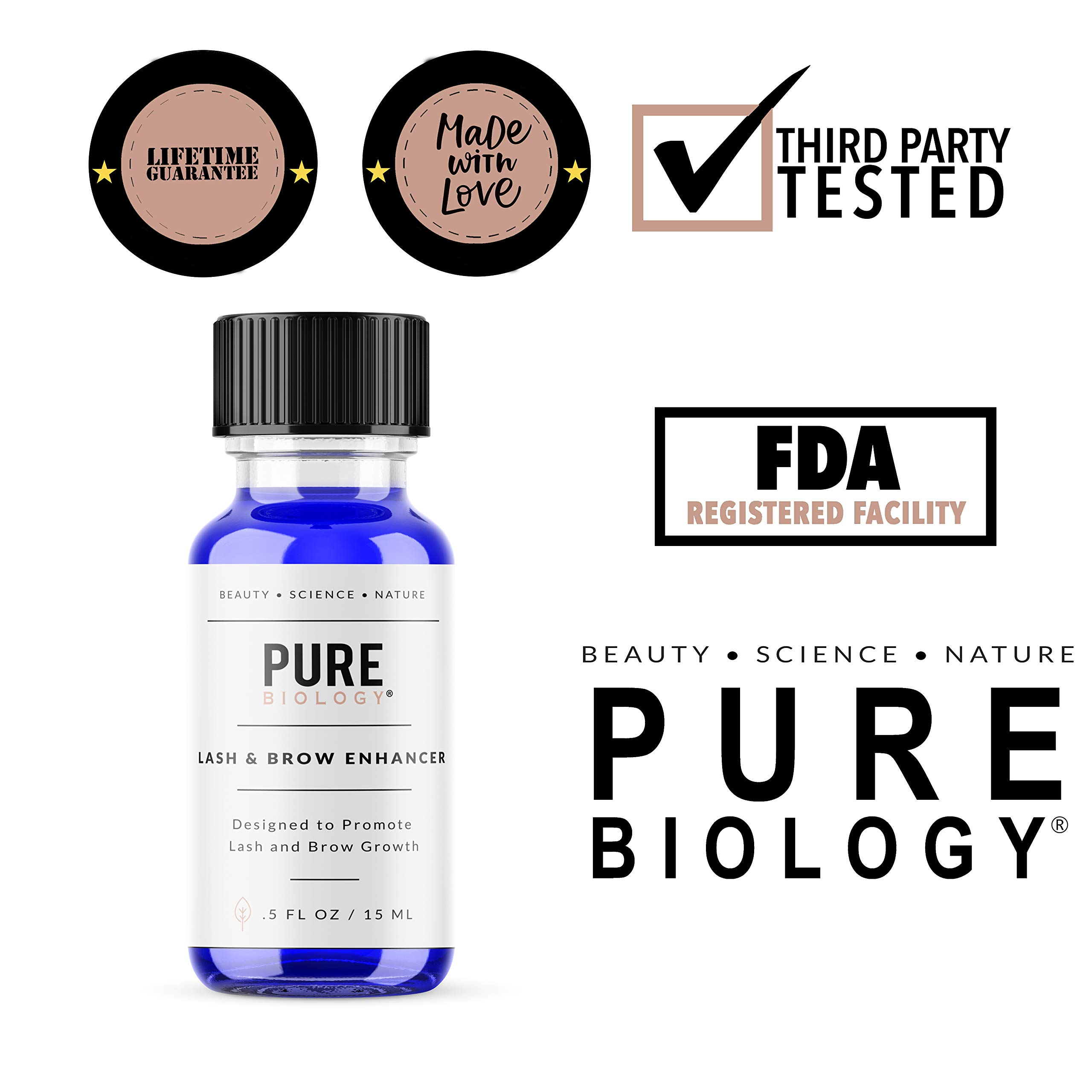Premium Eyelash Growth Serum & Eyebrow Enhancer - Castor Oil, Biotin, Green Tea Extract, Natural DHT Blockers & Breakthrough Hair Growth Stimulating Complex for Men & Women by Pure Biology (Image #6)