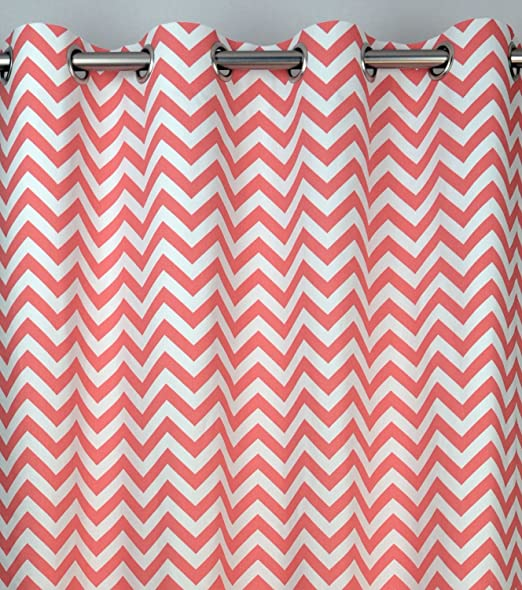 Amazon.com: Coral and White Chevron Zig Zag Drape with Blackout ...