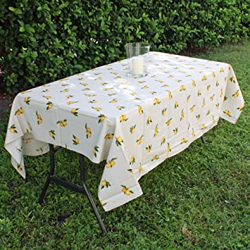 Provence Tablecloth U0026quot;Lemonsu0026quot;   Rectangular   100% Coated Cotton    Made In