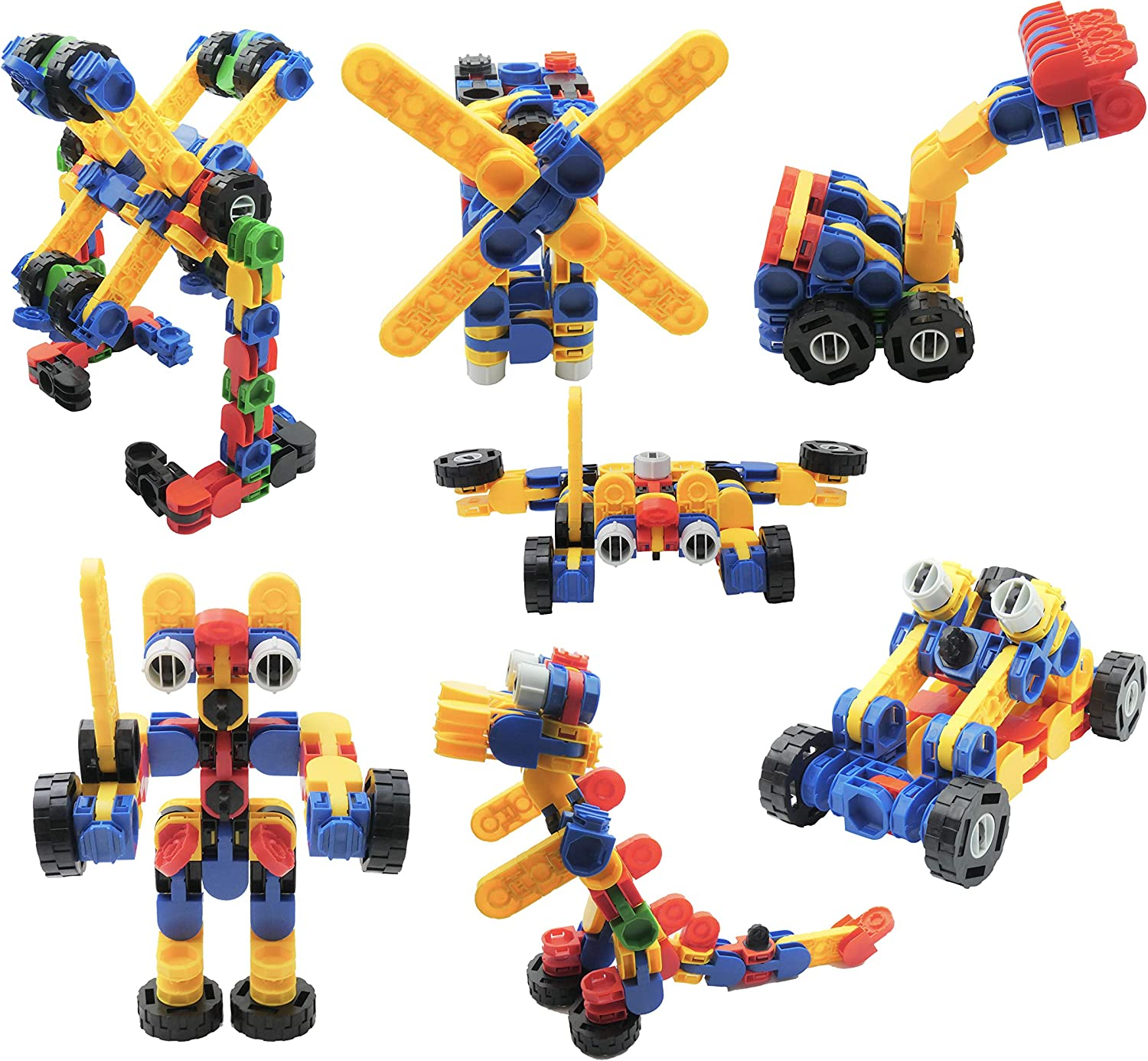 Skoolzy Klikio STEM Toys Kit. Creative Building Blocks Educational Construction 98 Pc Learning Games Set. Ages 3 4 5 6 7 8 9 10 Year Old Boys or Girls Tinker Activity. Best Birthday Gift Kids Toy
