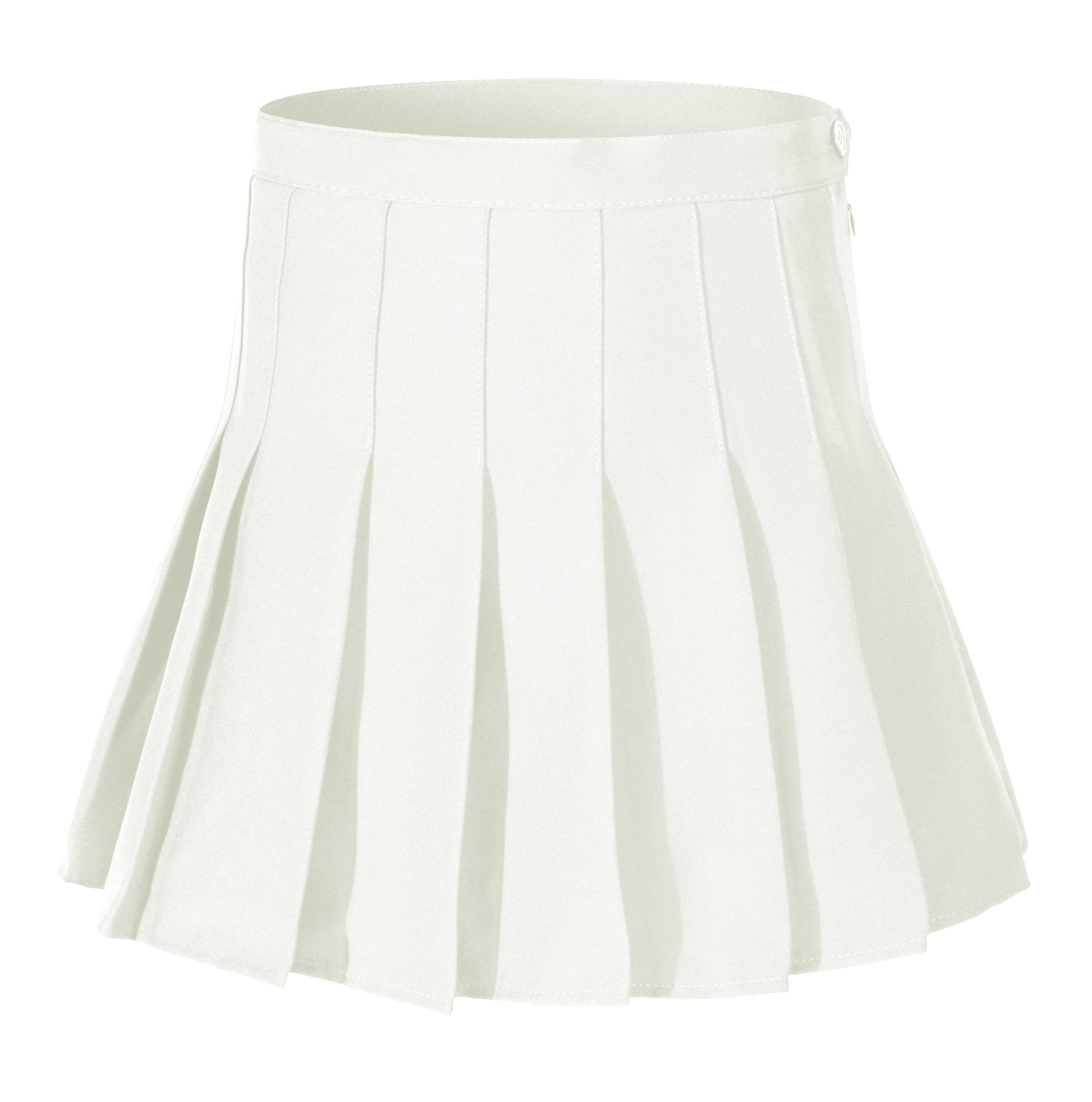 Women High Waist Solid Pleated Mini Slim Single Tennis Skirts ( S, White)