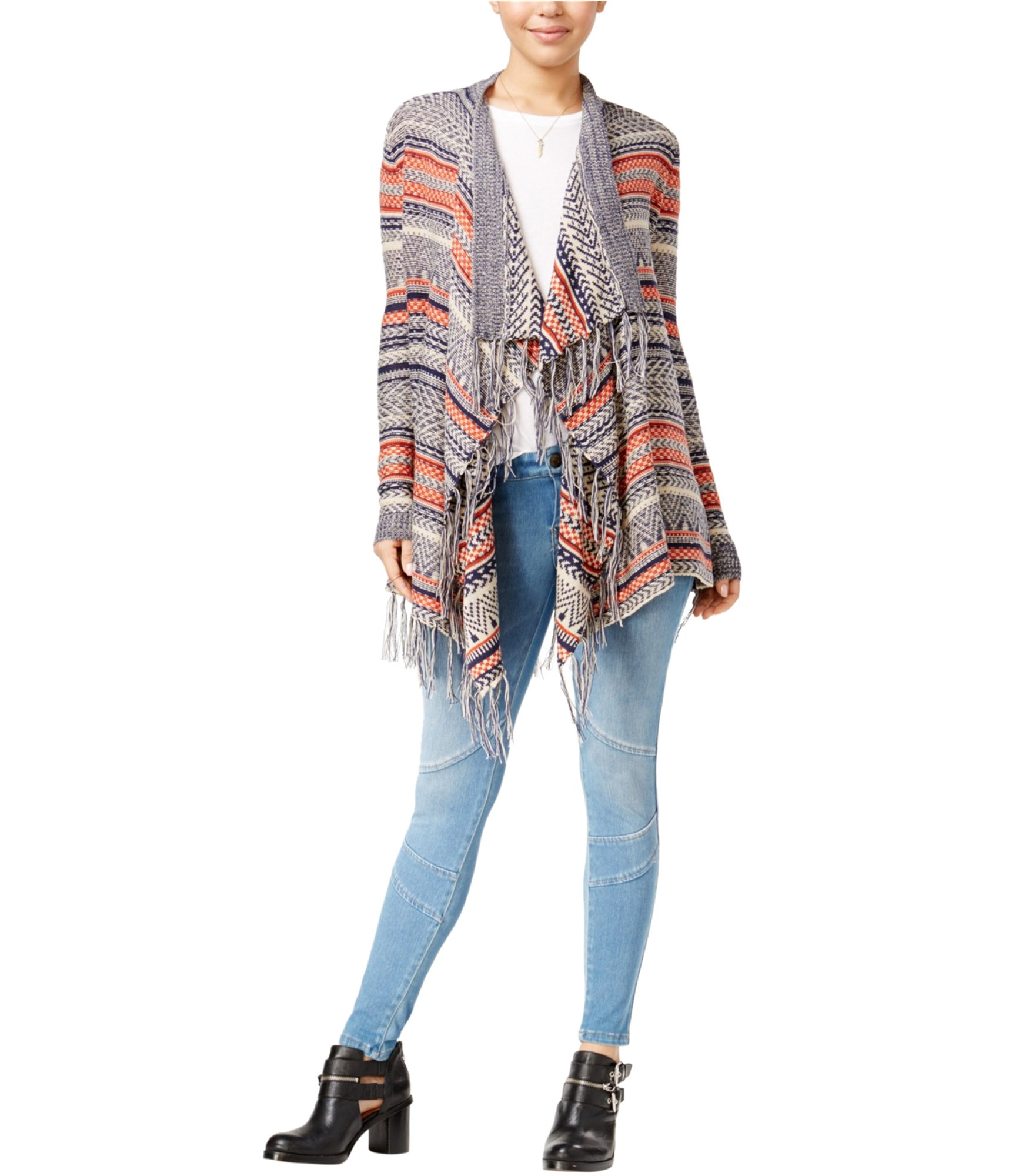 Almost Famous Womens Fringed Knit Sweater Multicoloured S - Juniors