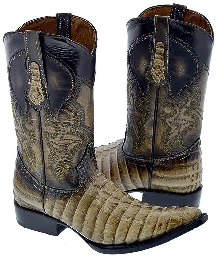 Men's Beige Sand Crocodile Western Leather Cowboy Boots 3X Toe