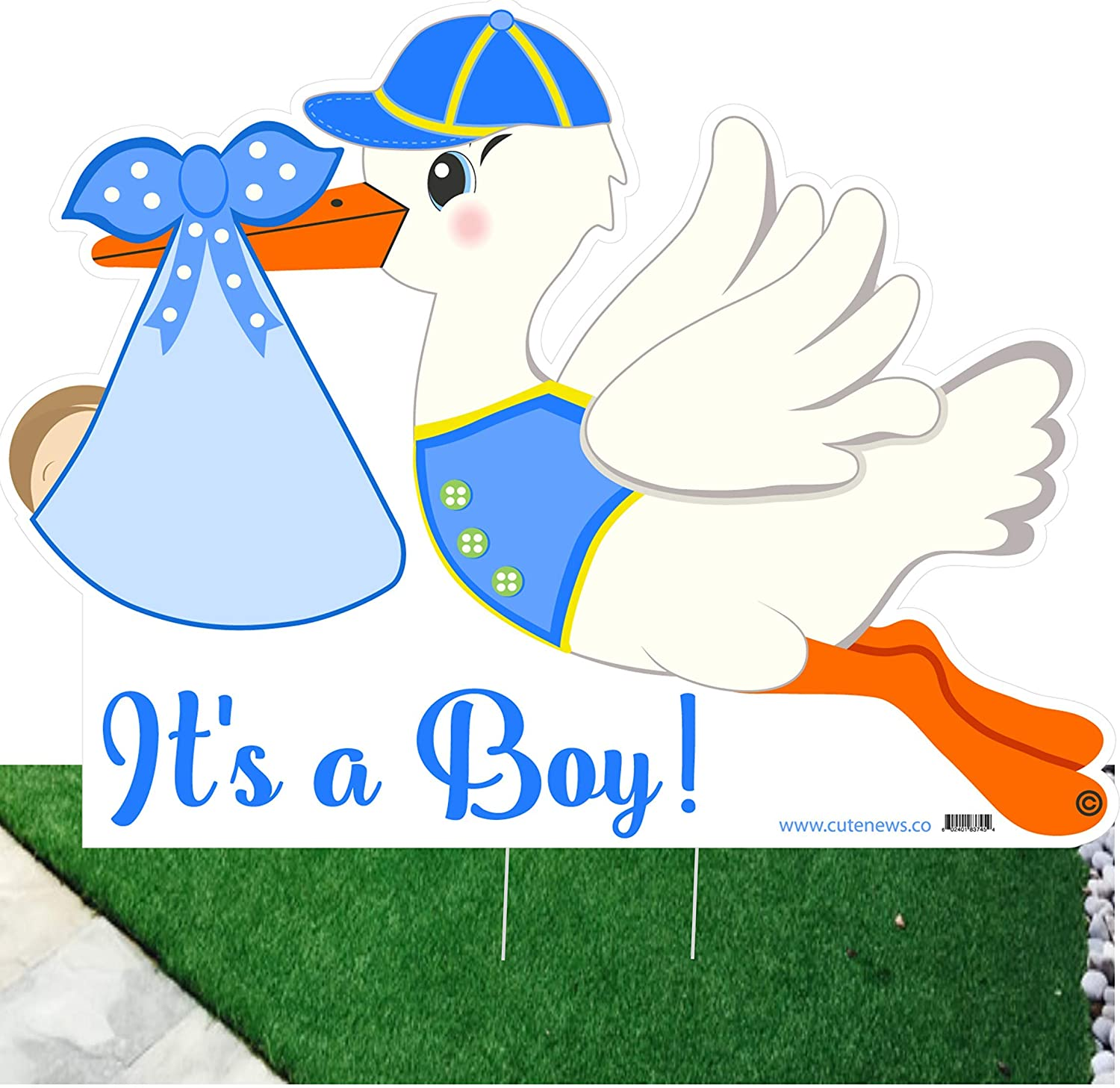 Cute News Outdoor It's a Boy Lawn Stork Decoration - Welcome Home Newborn Baby Yard Sign - Birth Announcement - Special Delivery Shower Party Decor - Blue