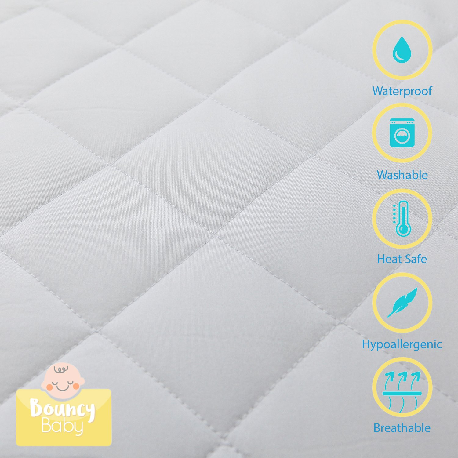 """Bouncy Baby Pack N Play Crib Mattress Cover - Hypoallergenic, Soft Protector  with Quilted Top & 5"""" Fitted Elastic Skirt Band - Fits Mini, ..."""