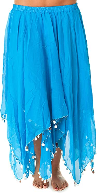 Turkish Emporium falda danza oriental (turquesa plateado): Amazon ...