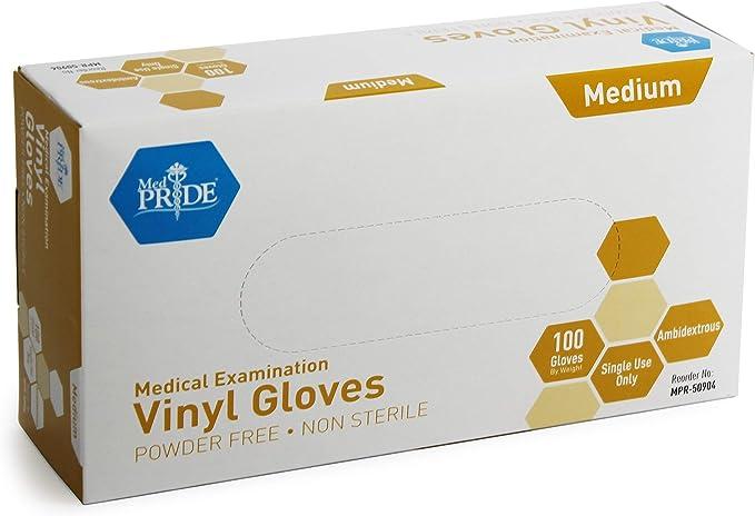 Medpride Medical Vinyl Examination Gloves (Medium, 100-Count) Latex Free Rubber