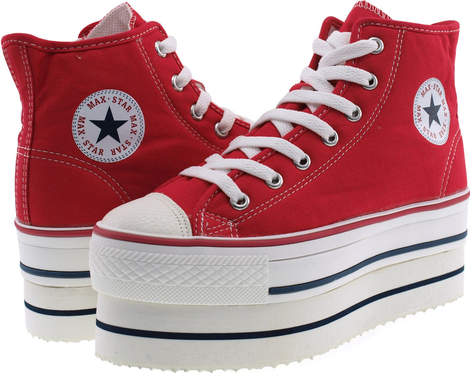 CN9 8 Holes Double Platform Denim Studed Taller Insole High B(M) Top Sneakers B00CLM79LI 7 B(M) High US|Red 25732c