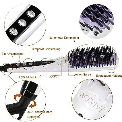 ACEVIVI Cepillo Alisador de Pelo Automático Eléctrico Pantalla LCD Cepillo de Pelo Profesional y Antiestático Cepillo