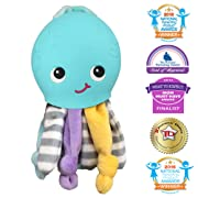 Silli Chews Gift 2 in 1 Octopus Friend Cute Soft Plush Funny Baby Toy and Silicone Squishy Teething Pain Relief Teether for Babies Infants and Toddlers Touch and Feel Oral Stimulation Chew Toy Blue