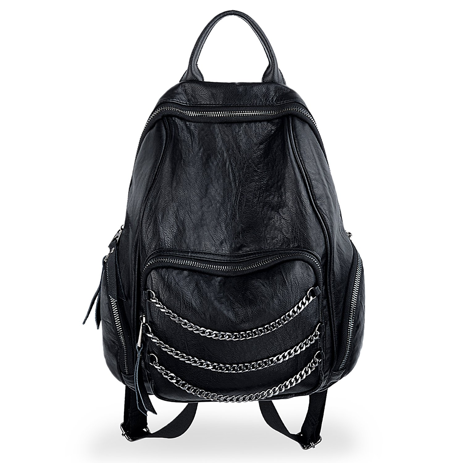 UTO Women Backpack Purse PU Washed Leather Triple Chains Ladies Rucksack Shoulder Bag Black