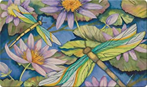 Toland Home Garden Water Lilies and Dragonflies 18 x 30 Inch Decorative Floor Mat Flower Lily Pond Dragonfly Doormat