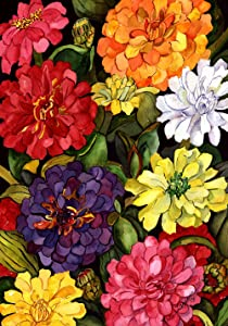 "Toland Home Garden 112064 Zippy Zinnias 12.5 x 18 Inch Decorative, Garden Flag (12.5"" x 18"")"