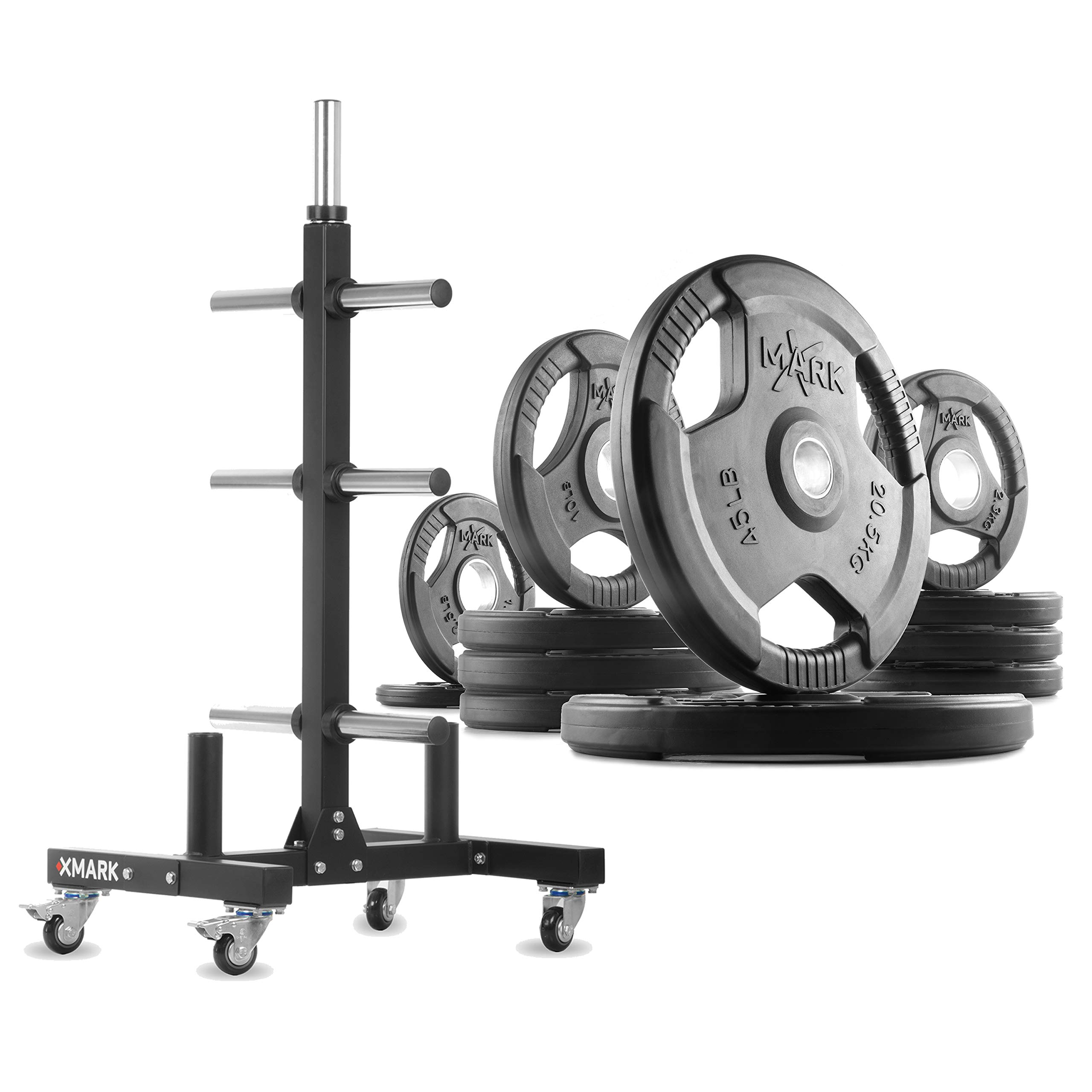 XMark XM-9055 Commerical Olympic Weight Tree Plus a 155 lb Set of TRI-Grip Olympic Plates by XMark