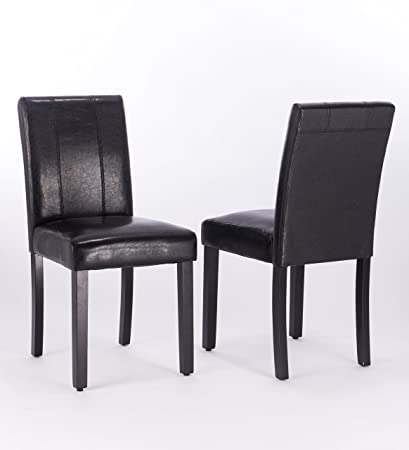 Modern Style Solid Wood Per Home Leatherette Covered Parson Dining Chairs  Set Of 2 (
