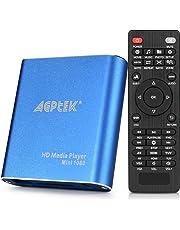 AGPTEK Media Player 1080P HD Digital Media Player - MKV/RM - HDD SD/USB - HDMI Supporto HDMI CVBS e YPbPr Uscita Video con Telecomando e l'adattatore di Alimentazione 5V 2A - Blu