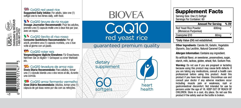 Amazon.com: BIOVEA Coenzyme Q10 (Coq10) 60mg & Red Yeast Rice 60 Softgels: Health & Personal Care