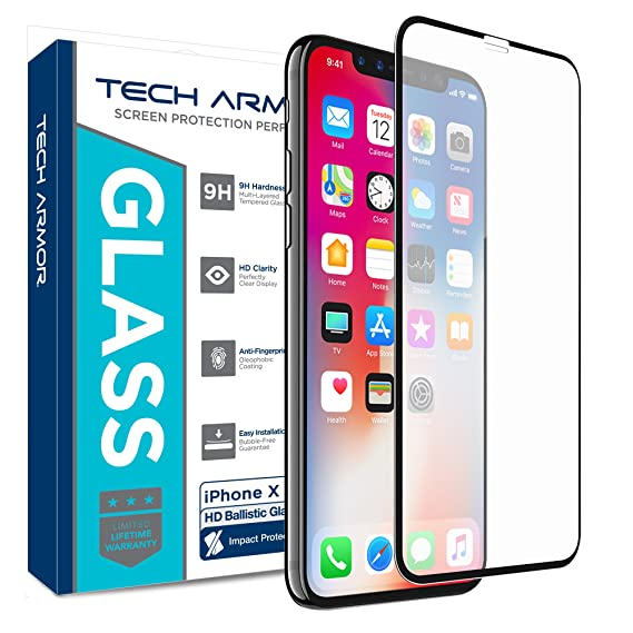 sale retailer 44071 c9021 Tech Armor Edge to Edge Glass Screen Protector for Apple iPhone X/Xs -  Case-Friendly Tempered Glass, 3D Touch Accurate (Black) [1-Pack]