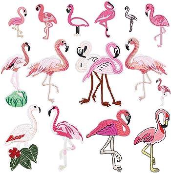 8pcs//set Flamingos Embroidery Fabric Trim Sewing on Dress Clothes Applique Patch