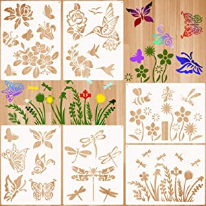 6 Pieces Spring Stencils Flower Butterfly Stencils Template Bird Bee Drawing Template Reusable Painting Stencils with Metal Open Ring for DIY Painting on Wood Wall Home Decors