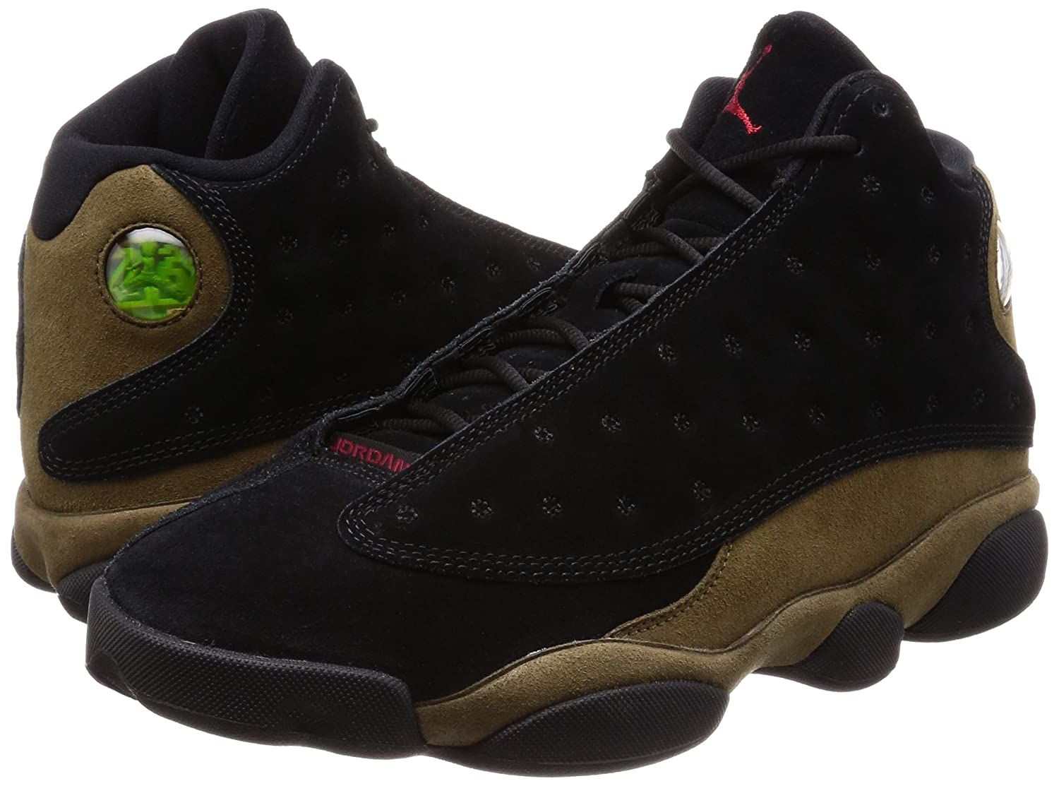 detailed look 44886 319ab Amazon.com   Nike Mens Air Jordan 13 Retro Olive Black Red-Olive Suede Size  10   Basketball