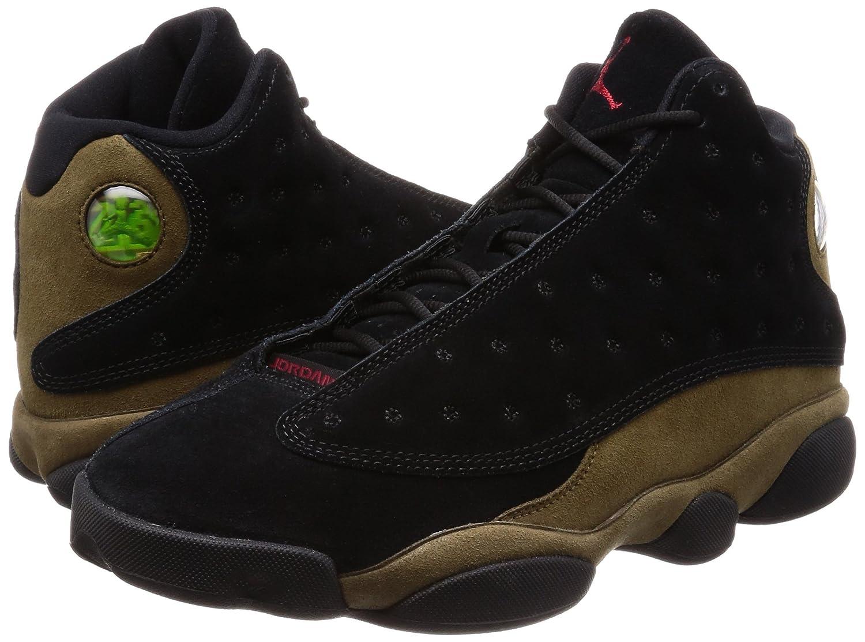 detailed look 9de06 7cf66 Amazon.com   Nike Mens Air Jordan 13 Retro Olive Black Red-Olive Suede Size  10   Basketball