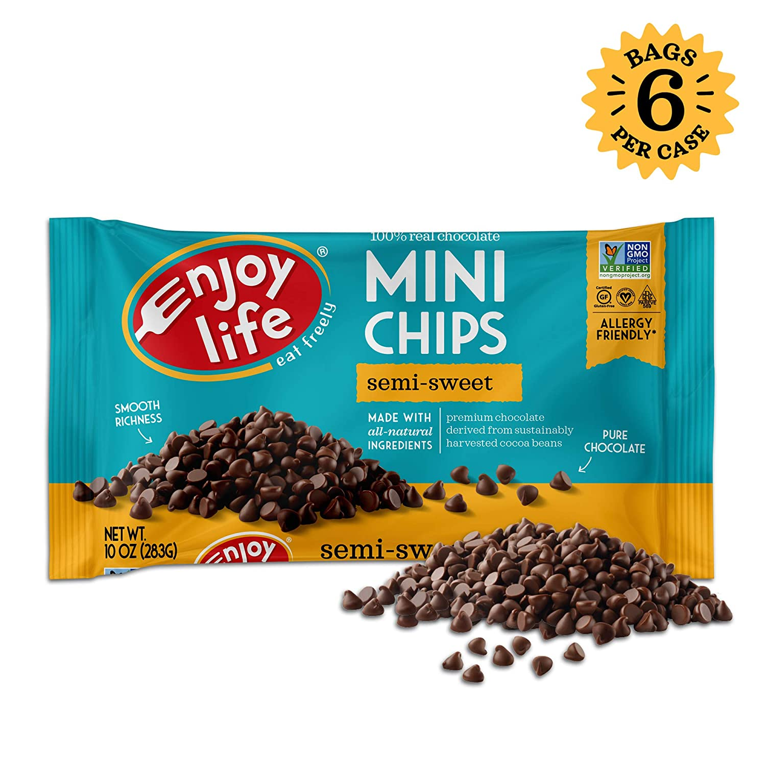 Enjoy Life Semi Sweet Dairy Free Nut Free Vegan Chocolate Chips 10 Ounce Pack Of 6